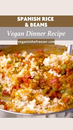 Vegan Mexican Recipes, Tasty Vegetarian Recipes, Vegan Dinner Recipes, Veggie Recipes, Healthy Recipes, Vegan Rice And Beans Recipe, Side Recipes, Freezer Recipes, Spanish Rice And Beans