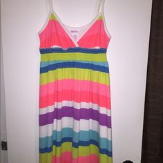 "Sundress Multi-striped cotton sundress. Adjustable straps makes it 27-34"" long. Kirra Dresses Midi"