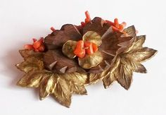 Miriam Haskell Russian Gold Tone Leaves, Wood & Coral Brooch c. 1930