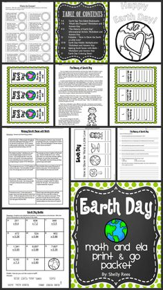 Earth Day Math and ELA Print and Go Packet.  A great resource that makes it easy for teachers to teach about Earth Day across the curriculum!  Includes author's purpose, informational text, multiplication of decimals, word problems, bookmarks, and coloring sheet.  Awesome resource for grades 4-6!  Can't wait to use this!