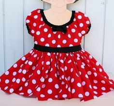 Halloween Costume Children MINNIE MOUSE Dress  in red Polka Dots super twirly peasant dress costume Birthday party Peagant Flower girl via Etsy
