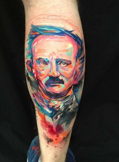 Gorgeously stunning, vibrant watercolor Poe tattoo