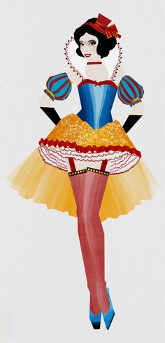 Snow White- If Disney Princesses Were Burlesque Showgirls The show must go on. The designs of artist Madhanz would make some gorgeous Moulin Rouge costumes.