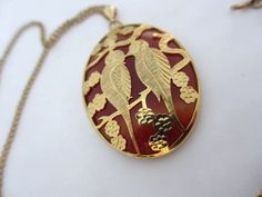 Chinese Carnelian Agate Bird Pendant Necklace 1960s Vintage Jewelry on Etsy, $52.38 CAD