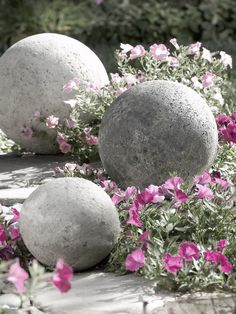 concrete spheres for the garden