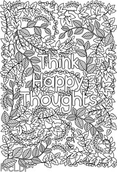 Think Happy Thoughts Coloring Page for Grown-ups