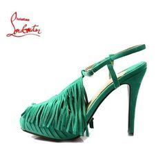 Chaussure Louboutin Pas Cher Sandale Vert Bridée Fanges Plates-formes0 #redbottomshoes