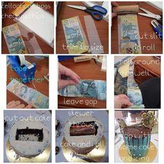 Money cake tips Cake Icing, Fondant Cakes, Cupcake Cakes, Cupcakes, Over The Hill Cakes, Inside Cake, 30 Cake, Money Cake, Surprise Cake