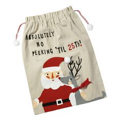 Christmas 'Waiting For Santa' Present Sack. Give Santa somewhere to store all your goodies with this lovely 'Waiting For Santa' present sack!  With Santa on his way, we have the best place to store all of his loot! This Waiting for Santa Sack is as big as a pillow case and is the perfect place for all of your presents. Made from cotton linen, this large Christmas sack features 2 pom poms with a red & white drawstring.
