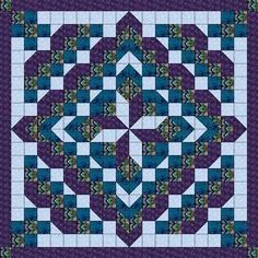 Quilt Kit/Faceted Star/ Purple and Aqua/Pre-cut Fabric Ready To Sew/Queen