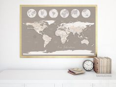 """World map print featuring cities and Antarctica, Our Adventures, 36x24"""""""