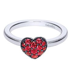 Gabriel NY | Engagement Rings | Silver Stackable Red Heart Ladies' Ring
