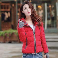 winter jacket women 2016 fashion slim short cotton-padded Hooded