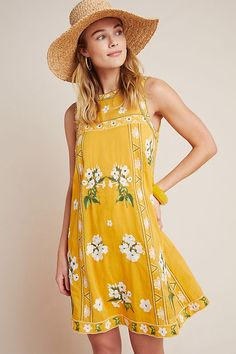 Petite Maeve Shana Embroidered Swing Dress in Yellow Size: 00 P, Women's Dresses at Anthropologie Isle Of Man, Spring Dresses, Winter Dresses, Plus Dresses, Casual Dresses, Unique Dresses, Pretty Dresses, Floral Dresses, Bohemian Mode