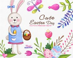 Easter Clip Art Watercolor, Easter Cute Bunny, Easter Basket, Eggs, Spring Flower leaves Butterfly, Hand Drawn Clipart, Baby Shower Elements by NopiArtStudio on Etsy
