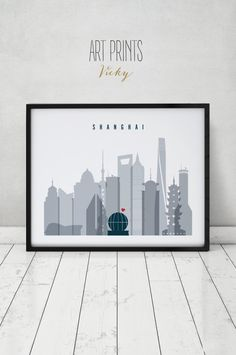 Shanghai poster, print, Travel, Wall art, Shanghai skyline, China cityscape, City poster, Typography art, Home Decor, Gift, ArtPrintsVicky by ArtPrintsVicky on Etsy