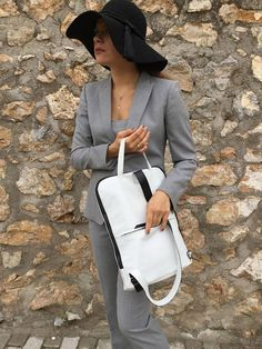 Minimal Leather Backpack/ White  leather Backpack/ White White Leather Backpack, Black Leather Bags, Black Backpack, Briefcase, Italian Leather, Bag Making, Minimal, Trending Outfits, Backpacks