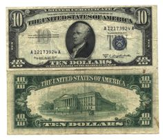 US Currency Paper money Silver certificates. Shop online for paper money and coins. National Currency, Red seal notes, and Silver Certificates. Old Coins, Rare Coins, 10 Dollar Bill, Dollar Bills, Old Money, Cash Money, Coins Worth Money, Silver Certificate, Coin Worth