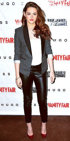 Leather leggings, red shoes, white shirt, blazer