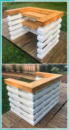 Creative And Awesome DIY Pallet Projects and IdeasYou can find Pallet bar and more on our website.Creative And Awesome DIY Pallet Projects and Ideas Wood Pallet Bar, Diy Pallet Bed, Wooden Pallet Projects, Palet Bar, Wood Pallets, 1001 Pallets, Pallet Sofa, Pallet Headboards, Pallet Benches