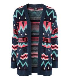 """H&M """"printed"""" cardigan, interesting shifts in birdseye patterning on interior of sweater knit"""