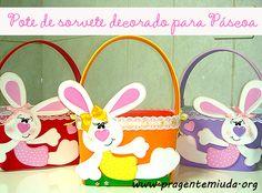 Potes de sorvetes decorados para a páscoa | Pra Gente Miúda
