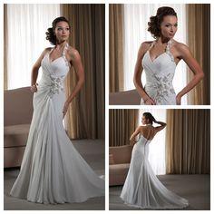 Halter Wedding Dress With Beaded Flowers