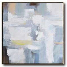 Large Abstract painting canvas painting, hand painted oversized Palette Knife Painting Contemporary Art, large square canvas art. Grey, beige, yellow, brown, blue, etc.