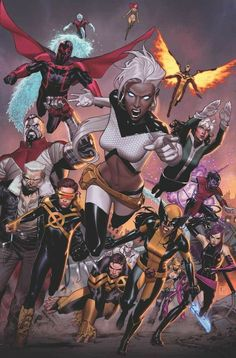Variant cover of Extraordinary X-Men during Inhumans vs. X-Men, art by Jorge Molina Marvel Comics, Marvel Dc, Arte Dc Comics, Marvel Heroes, Anime Comics, Rogue Comics, Storm Marvel, Captain Marvel, Comic Book Characters