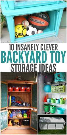 With summer arriving, warmer weather means a lot more time playing outdoors! Sometimes after your kids play for a little bit, you walk out and your yard looks like a tornado just struck! To keep that backyard clutter free, try these awesome backyard toy storage ideas! I have rounded up a variety of clever ways to store those toys, and help make your yard look open and organized!