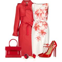 Giambattista Valli Silk Sheath, Lanvin Satin Twill Trench Coat, Christian Louboutin V-Neck 120 patent-leather pumps, Ted Baker MARDUN - Patent quilted tote bag, BonBon Boutique faceted Swarovski red crystals in 14k gold filled Ear studs
