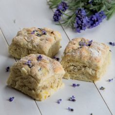 Fresh lavender flowers are an unexpected ingredient in Lavender Scones. Just Desserts, Dessert Recipes, Scone Recipes, Brunch Recipes, Bread Recipes, Appetizer Recipes, Delicious Desserts, Yummy Food, Lavender Scones
