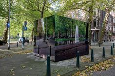 URBAN CAMOUFLAGE BY ROELAND OTTEN Dutch designer Roeland Otten uses photographic prints, mosaic tiles and paint to camouflage misplaced public eyesores on city streets. Rotterdam, Wc Container, Camouflage, Electrical Substation, Urban Intervention, Eco Architecture, Temporary Architecture, Urban Furniture, Dutch Artists