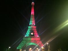 Euro 2016 - Eiffel Tower illuminated in the colors of Portugal