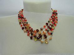 Maxi colar de cristais, artesanal