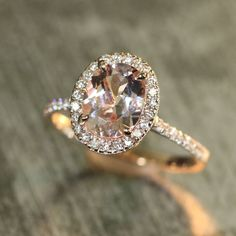 Halo Diamond and Morganite Engagement Ring in 14k Rose Gold 9x7mm Oval Peach Pink Morganite Ring Pave Diamond Wedding Band by LaMoreDesign on Etsy