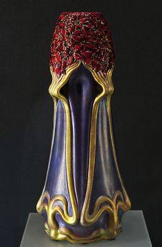 Zsolnay, Pécs, Eosin-Glaze Decorated Earthenware Vase. (1901)