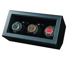 BOXY WOODEN TRIPLE WATCH WINDER. Matte black wooden housing with inbuilt,  independently operated watch winders.  http://www.stunningselection.com/boxy-wooden-triple-watch-winder-366