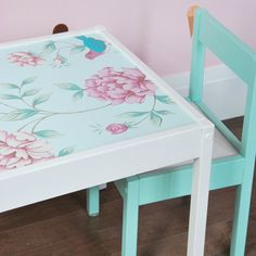 Check out this IKEA Hack Latt table and chairs! We took the Latt table and wallpapered it with a floral paper, and painted the chairs a mint turquoise.