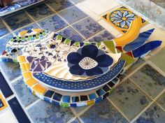 Mosaic Bird with tile, China, stained glass. By 'Sharondipity'