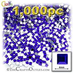 1000-pc Acrylic Flatback Square Rhinestones 4mm Royal Blue