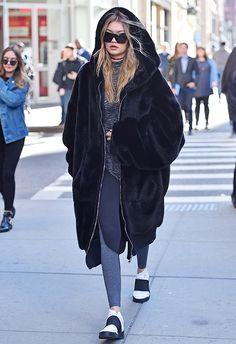 Model Gigi Hadid wearing oversized furry hooded jacket   ASOS Fashion & Beauty Feed