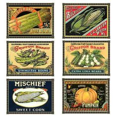 Antique vegetable crate labels via Charting Nature. http://www.chartingnature.com/notecard.cfm/Vetetable-Crate-Label-Note-Cards/824