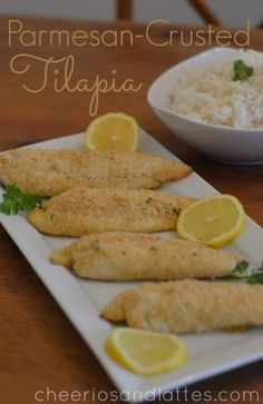 Parmesan Crusted Tilapia - Ingredients:      1 pound (approx. 4) Tilapia Fillets     3/4 cup Parmesan Cheese     2 teaspoons Paprika     1 tablespoon Parsley (chopped)     1 Lemon (cut into wedges)     Salt and Pepper (to taste)