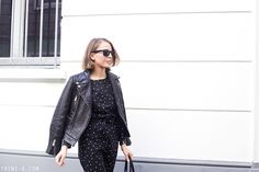 Trini | A.P.C polka dots overalls -  The Kooples leather jacket