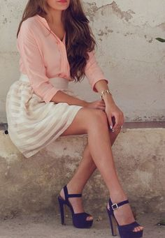 pink blouse with cream striped skirt