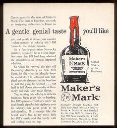 1961 Maker's Mark Bourbon Whiskey 'Gentle Genial Taste' Vintage Print Ad | eBay