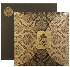 www.regalcards.com for this amazing Hindu wedding invitation card with lovely damask work and Laser cut Ganesh motif.
