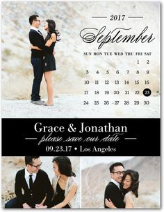 Elegant Calendar - Save the Date Postcards in Black or White | Magnolia Press