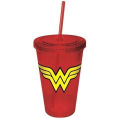 Wonder Woman Red Plastic Cup with Straw - Icup - Wonder Woman - Barware at Entertainment Earth Wonder Woman Party, Wonder Woman Logo, Travel Cup, Travel Logo, Plastic Cup With Straw, Cup Logo, Cricut, Tech Accessories, Girl Birthday